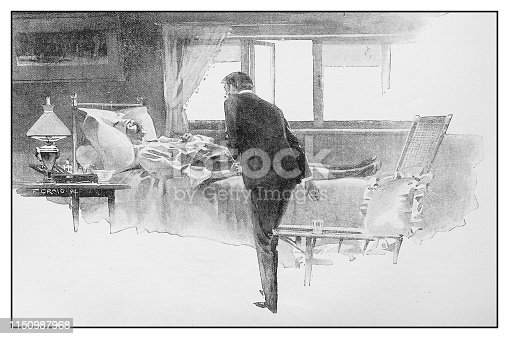 Antique illustration: Visiting sick man