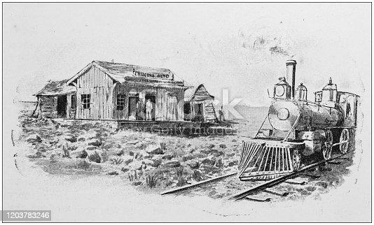Antique Illustration: Wild west train