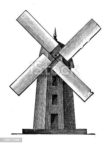 istock Antique illustration: Windmill 1290724881