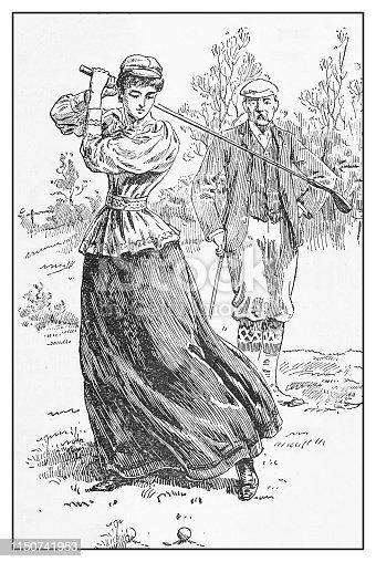 Antique illustration: Woman golfer