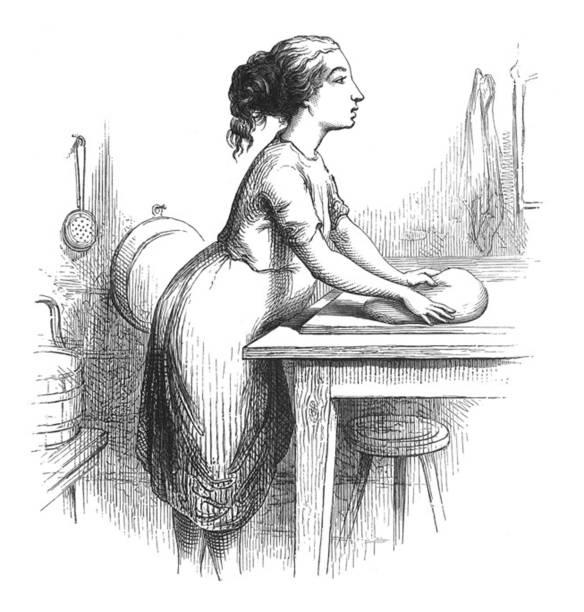 illustrazioni stock, clip art, cartoni animati e icone di tendenza di antique illustration - woman in kitchen kneading break - impastare
