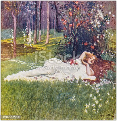 istock Antique Illustration: Woman lying in grass 1202292226