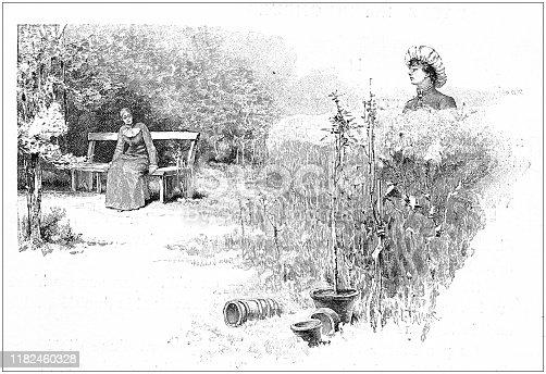 Antique illustration: Women in park