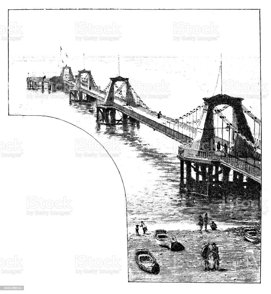 Antique illustrations of England, Scotland and Ireland: Brighton pier vector art illustration