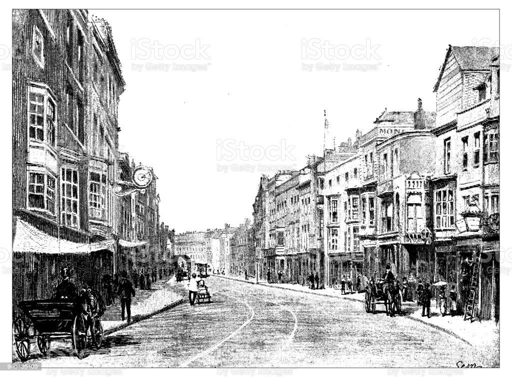 Antique illustrations of England, Scotland and Ireland: High Street, Portsmouth vector art illustration