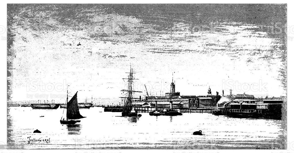 Antique illustrations of England, Scotland and Ireland: Portsmouth dock vector art illustration