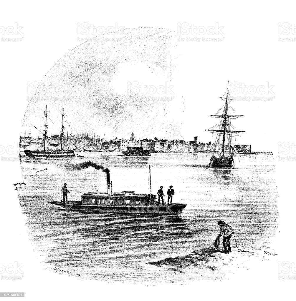 Antique illustrations of England, Scotland and Ireland: Portsmouth vector art illustration