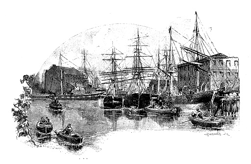 Antique illustrations of England, Scotland and Ireland: Salthouse Dock, Liverpool