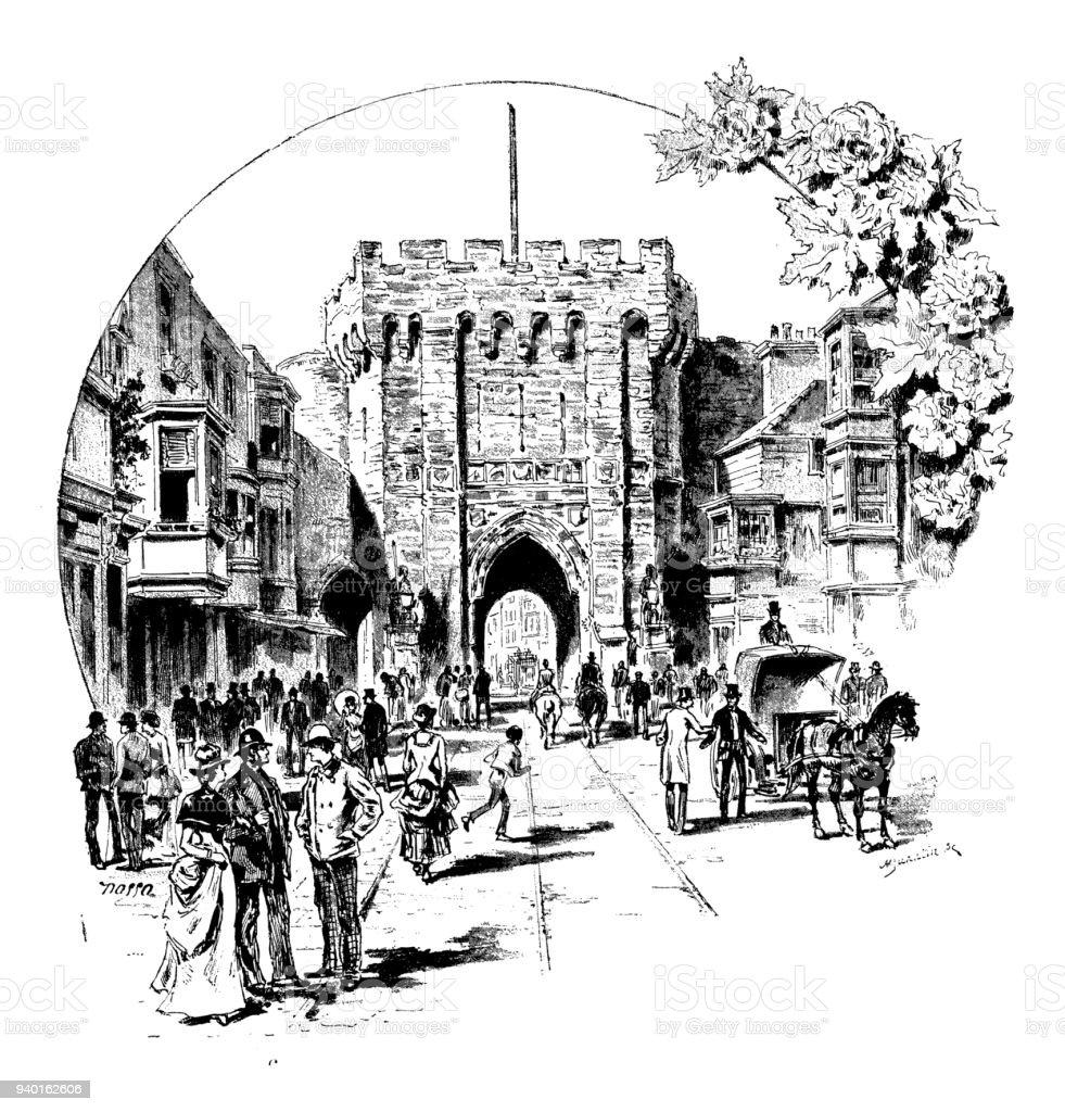 Antique illustrations of England, Scotland and Ireland: Southampton gate vector art illustration