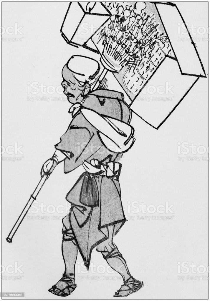 Cent ans et les poésies opportunes - Page 18 Antique-japanese-illustration-street-vendor-by-chinnen-illustration-id827680962