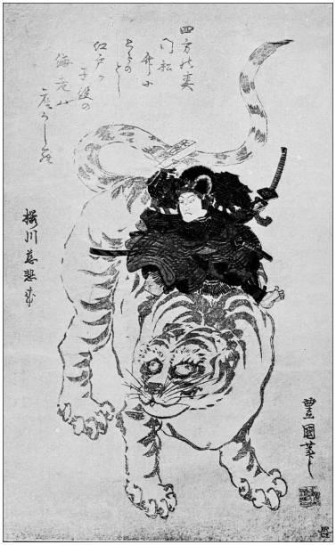 bildbanksillustrationer, clip art samt tecknat material och ikoner med antika japanska illustration: surimono av toyokuni (gosotei) - japanskt ursprung