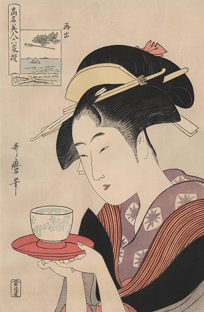 bildbanksillustrationer, clip art samt tecknat material och ikoner med antique japanese woodblock, woman serving tea - japanskt ursprung