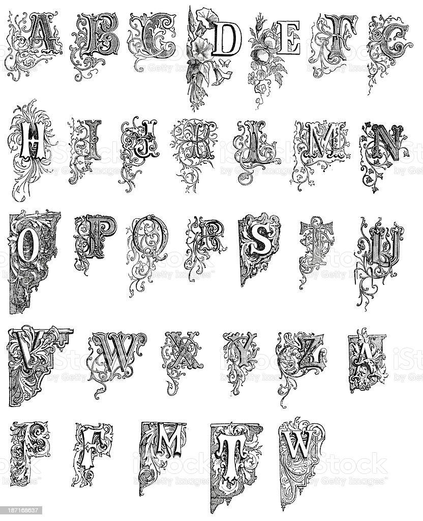Antique letters vector art illustration