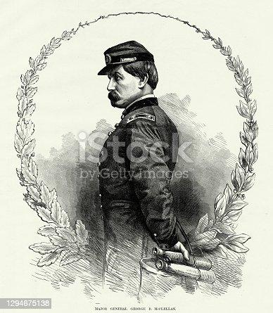 istock Antique: Major General George B. McClellan Civil War Engraving 1294675138