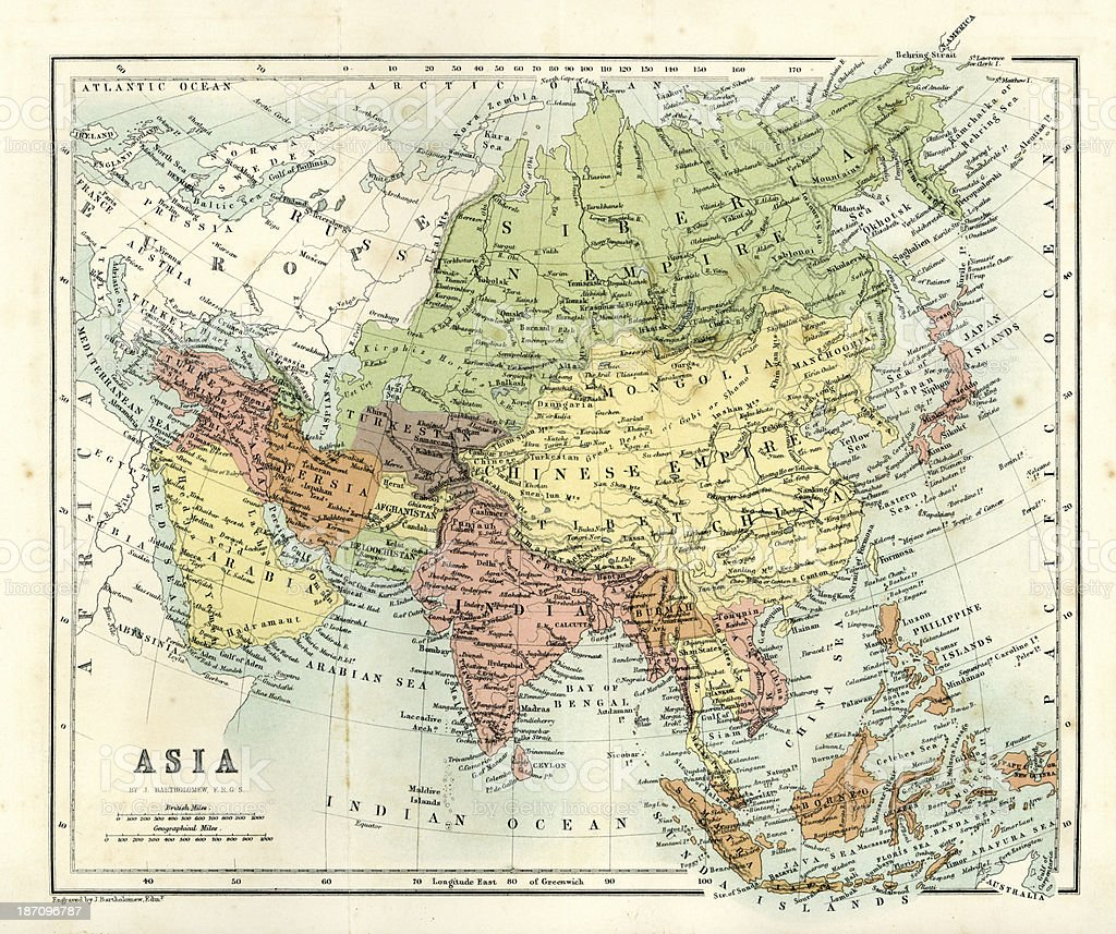 Antique map - Asia royalty-free stock vector art