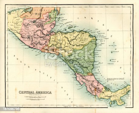 Antique map of Central America,1864