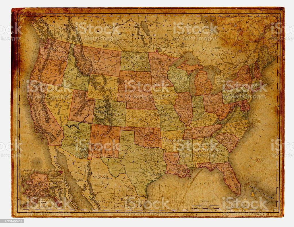 USA Antique Map royalty-free stock vector art