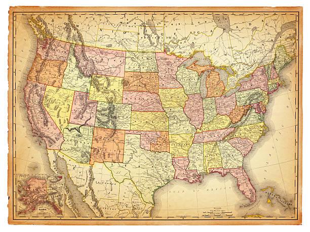 USA Antique Map vector art illustration