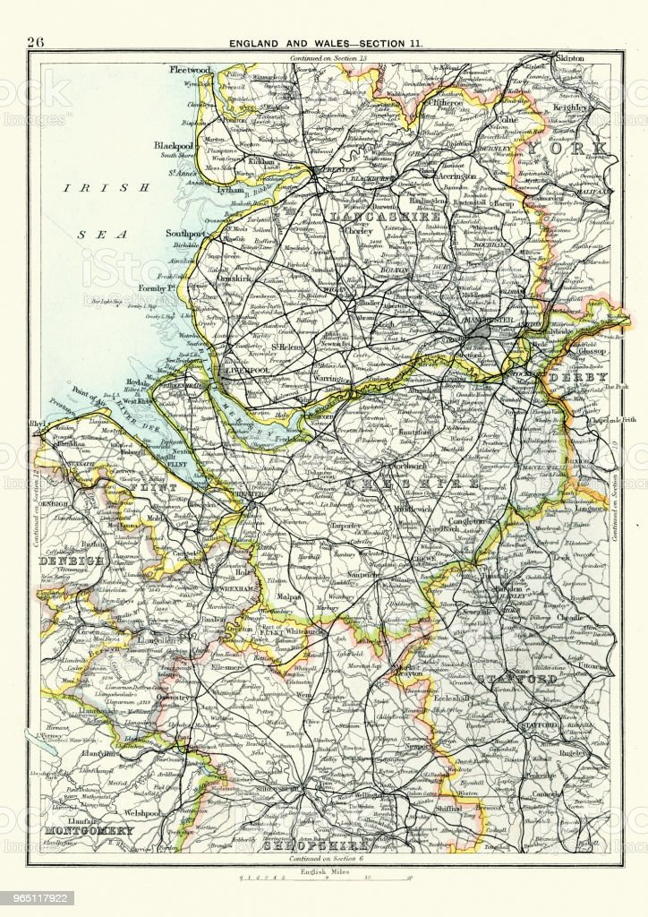 Antique map, Lancashire, Cheshire, Stafford, Liverpool, 19th Century antique map lancashire cheshire stafford liverpool 19th century - stockowe grafiki wektorowe i więcej obrazów 1890-1899 royalty-free