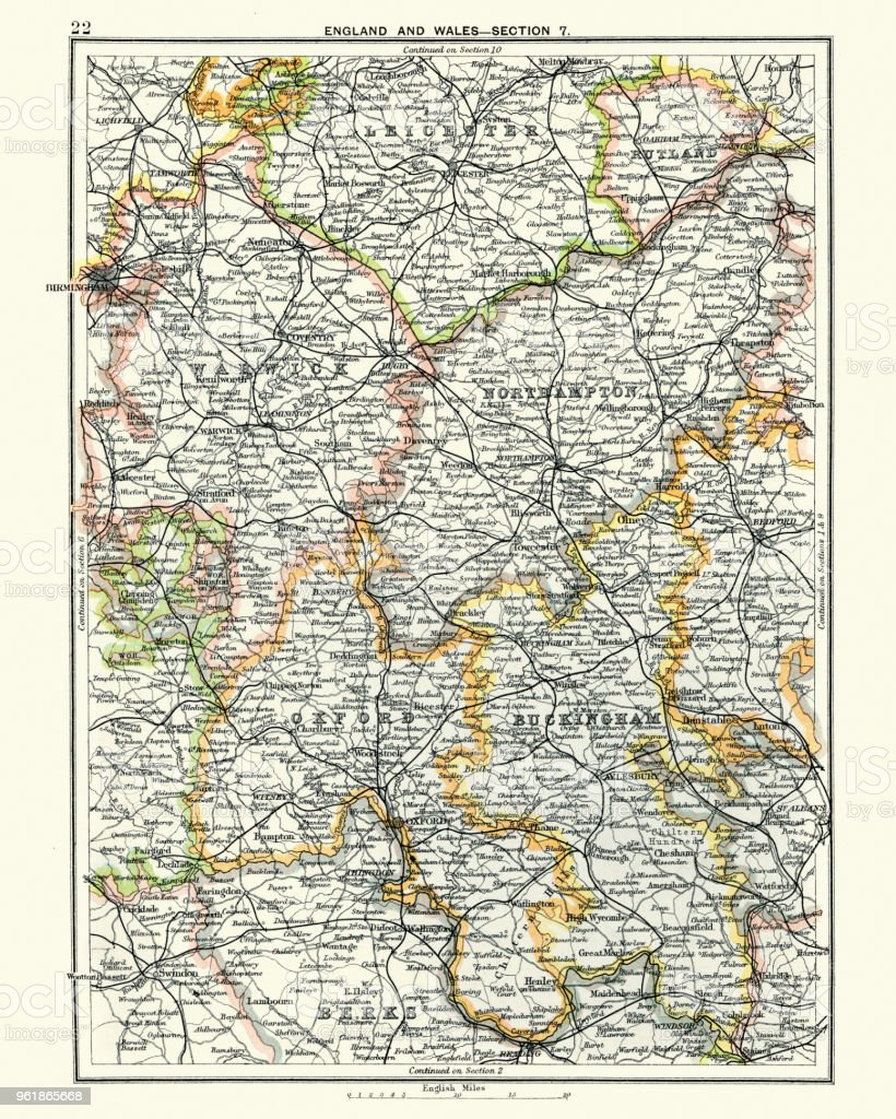 Map Of England Leicester.Antique Map Leicester Warwick Northampton Oxford Buckingham 19th