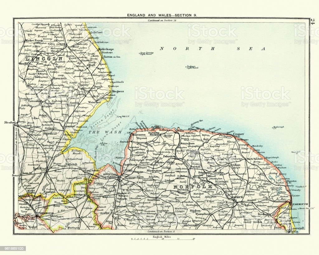 Antique Map Lincoln And Norfolk England 19th Century Stock Vector