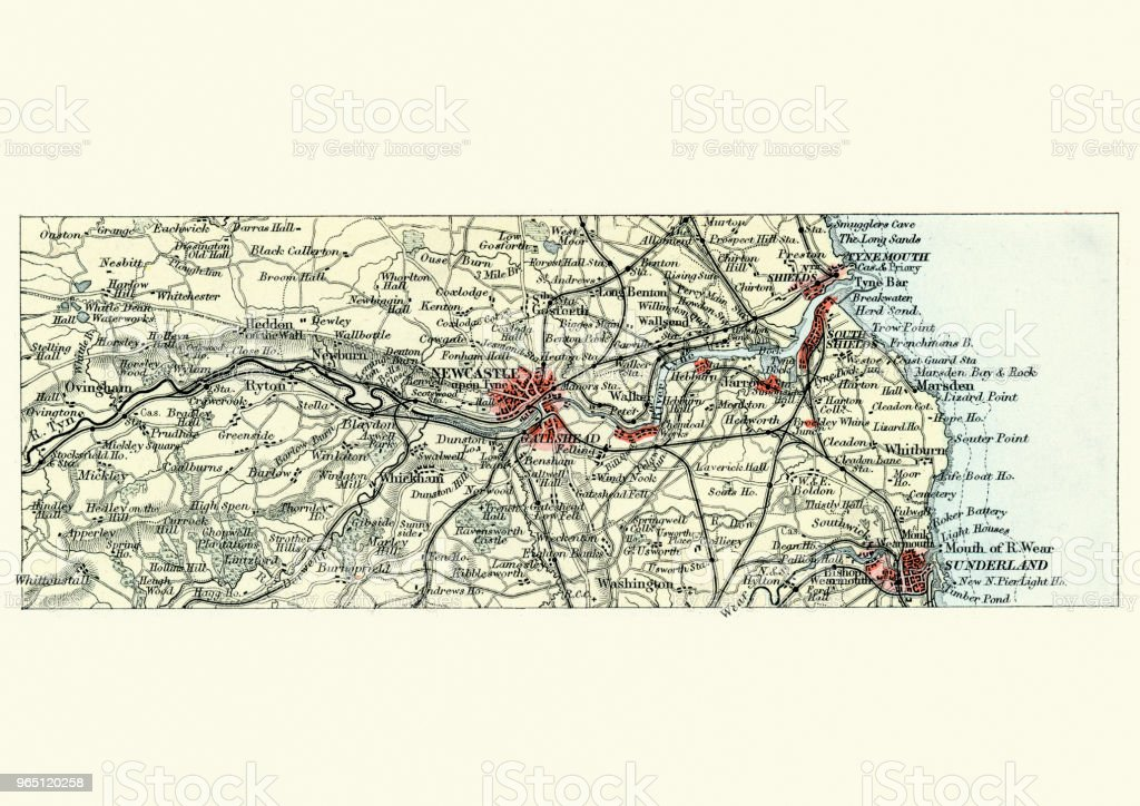 Antique map, Newcastle upon Tyne and Sunderland, 19th Century vector art illustration
