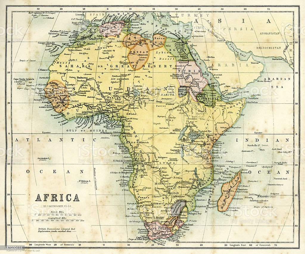 Antique Map Of Africa Stock Vector Art More Images Of 1860 1869