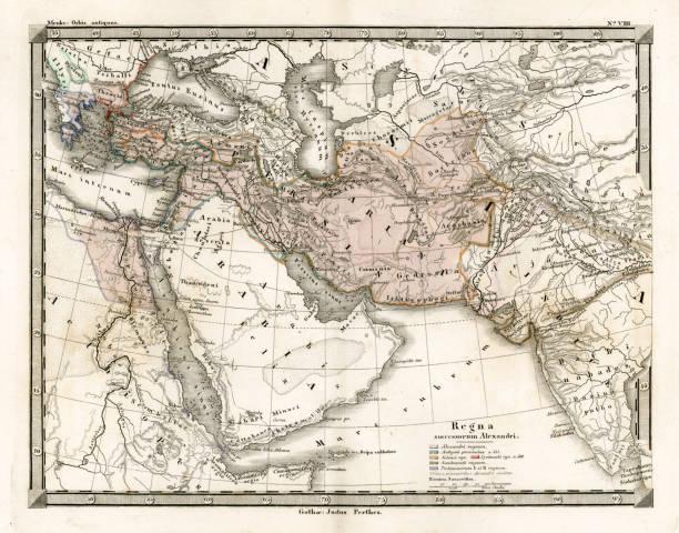 ilustrações, clipart, desenhos animados e ícones de mapa antigo de alexandre o grande é empire - mapa do oriente médio
