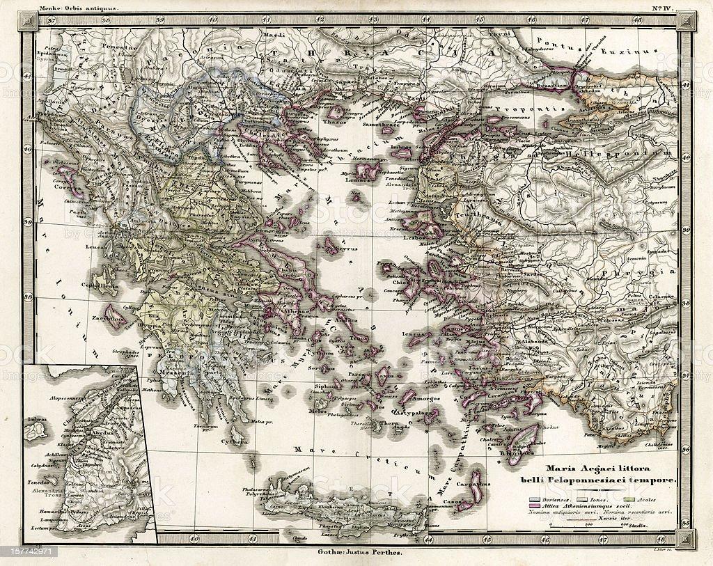 Antique Map of Ancient Greece vector art illustration
