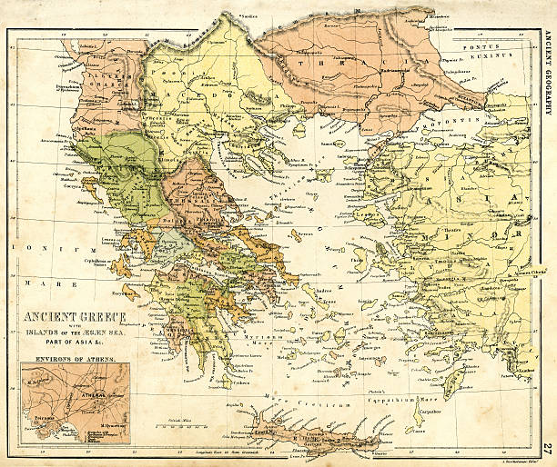 Antique map of Ancient Greece Vintage map from 1861 of Ancient Greece ancient greece stock illustrations