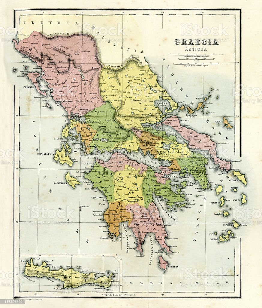 Antique Map Of Ancient Greece Stock Illustration Download