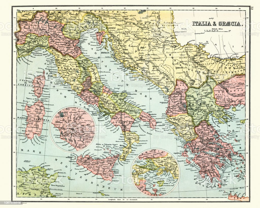 Antique Map Of Ancient Italy And Greece Stock Vector Art & More ...