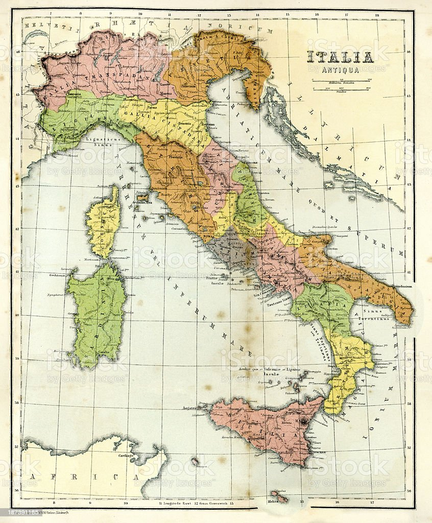 Download Map Of Italy.Antique Map Of Ancient Italy Stock Illustration Download