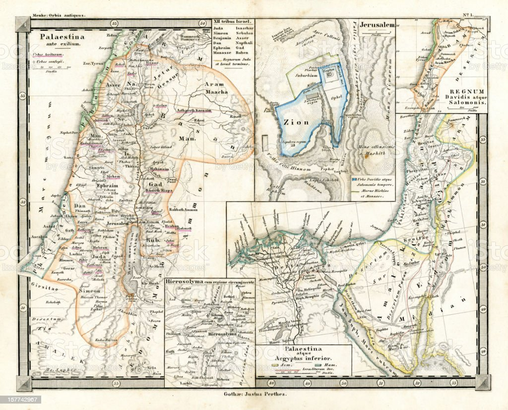 Antique Map of Ancient Palestine vector art illustration