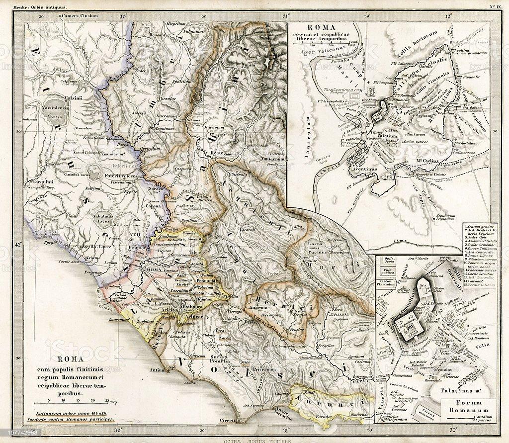 Antique Map of Ancient Roman Republic royalty-free stock vector art