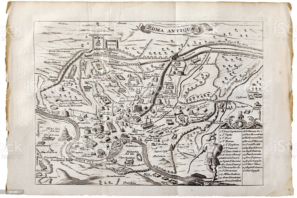 Antique Map of Ancient Rome, 1746 royalty-free stock vector art