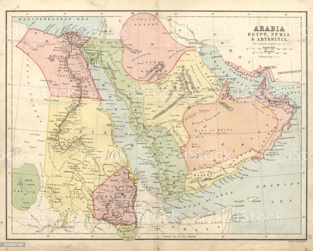 Antique Map Of Arabia Egypt Nubia Abyssinia Th Century Stock - Map of egypt nubia