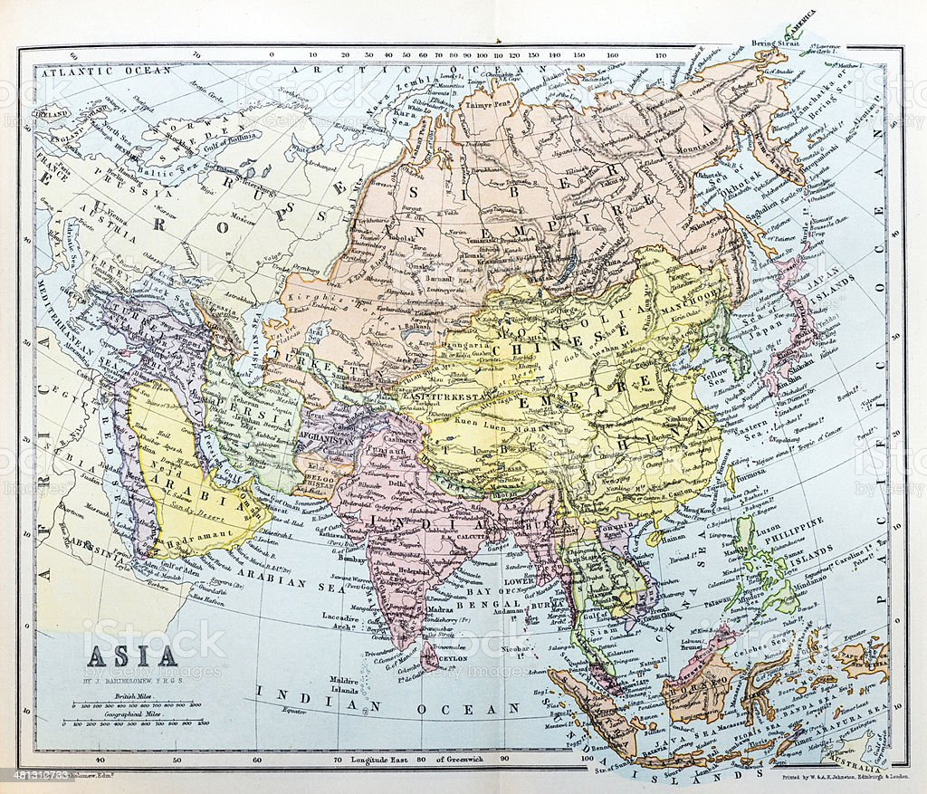 Antique map of Asia royalty-free stock vector art