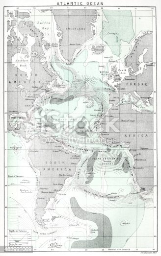 Antique map of Atlantic Ocean currents