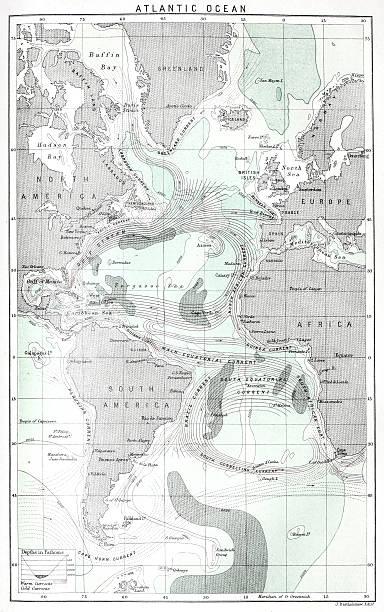 Antique map of Atlantic Ocean currents Antique map of Atlantic Ocean currents tide stock illustrations