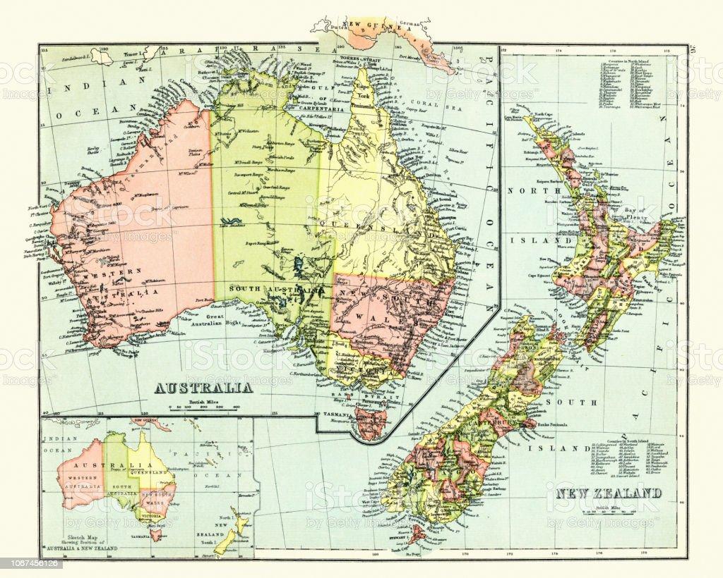 Antique Map Of Australia New Zealand 1897 Late 19th Century Stock