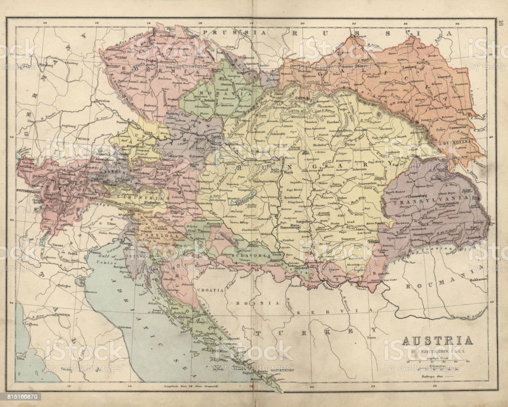 Antique map of Austria Hungary 19th Century vector art illustration