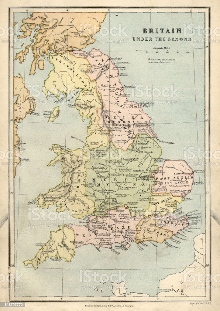 Antique map of Britain under the Anglo Saxons vector art illustration