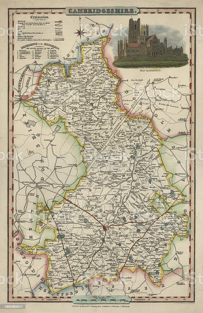 Antique map of Cambridgeshire vector art illustration