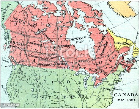 Vintage map of Canada at the end of the 19th century. Vintage etching circa late 19th century.