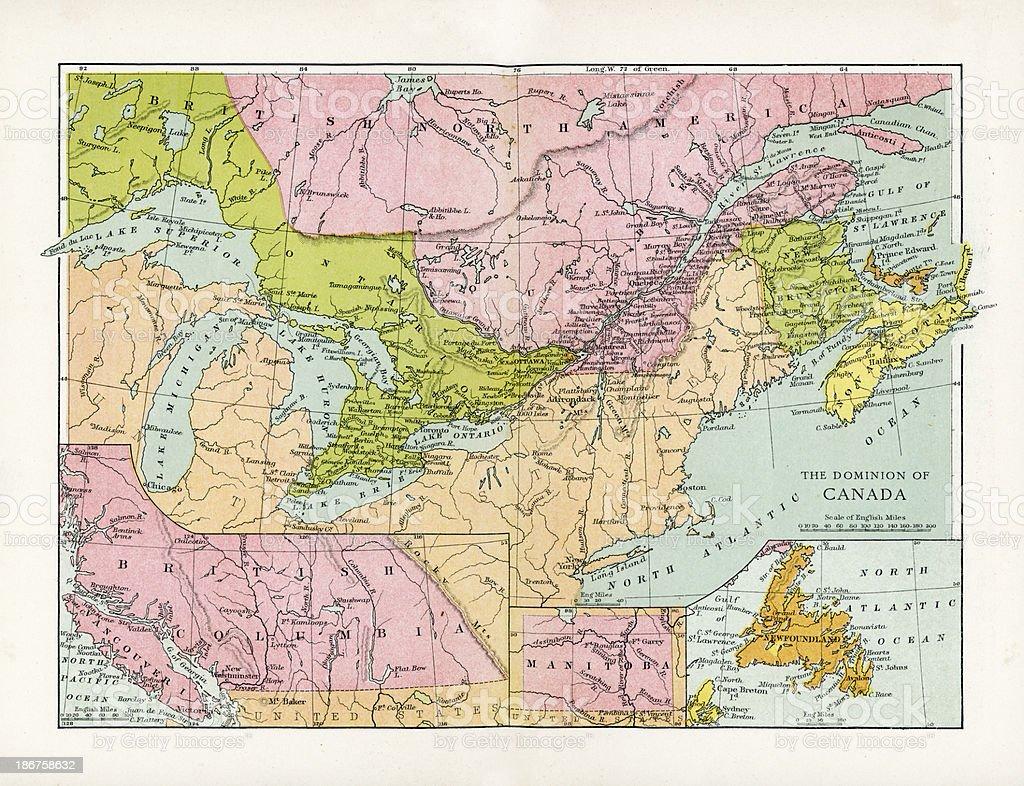 Antique Map of Canada vector art illustration