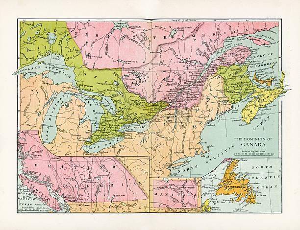 antique map of canada - lake superior stock illustrations, clip art, cartoons, & icons