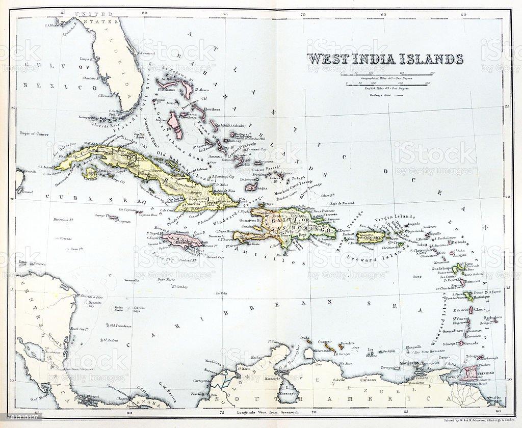 Antique map of Caribbean vector art illustration