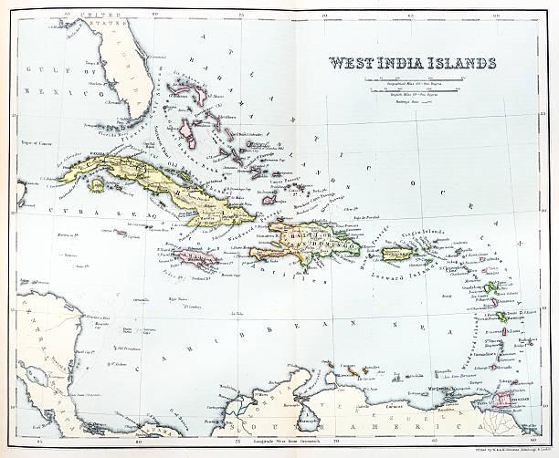 Antique map of Caribbean Antique map of Caribbean drawing of a haiti map stock illustrations