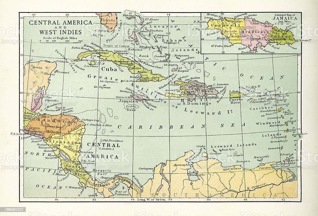 Antique Map of Central America and West Indes vector art illustration